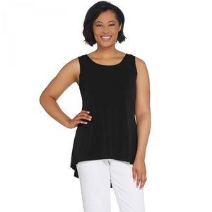 NEW Susan Graver Sleeveless Peplum Top Black XXS
